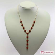Extra Red Coral Necklace Dark Color roses in Gold 18K