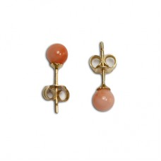 Extra Pink Coral Earrings 4-4½mm in Gold 18K