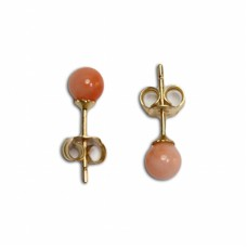 Extra Pink Coral Earrings 5½-6mm in Gold 18K