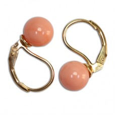 Extra Pink Coral Earrings 7-7½mm in Gold 18K mmp