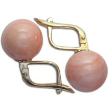 Extra Pink Coral Earrings 10½-11mm in Gold 18K m