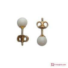 Extra White Coral Earrings 4-4½mm in Gold 18K
