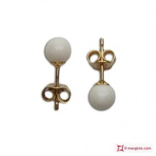 Extra White Coral Earrings 4½-5mm in Gold 18K