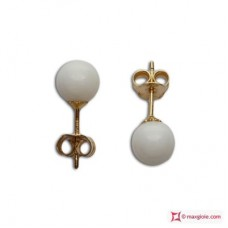 Extra White Coral Earrings 5½-6mm in Gold 18K