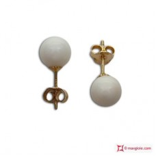 Extra White Coral Earrings 6-6½mm in Gold 18K