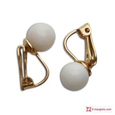 Extra White Coral Earrings 7-7½mm in Gold 18K clip