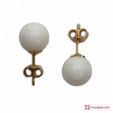 Extra White Coral Earrings 7½-8mm in Gold 18K