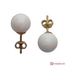 Extra White Coral Earrings 8-8½mm in Gold 18K