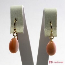 Extra Pink Coral Earrings poire 9x14mm in Gold 18K
