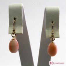 Extra Pink Coral Earrings poire 8x12mm in Gold 18K