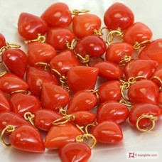 Red coral of the Mediterranean Pendant Large Heart