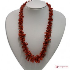 Mediterranean Red Coral Necklace cupolini 30-6mm in Gold 18K