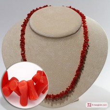 Mediterranean Red Coral Necklace cupolini 3-3½mm in Silver