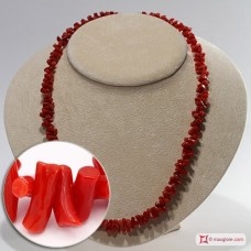 Mediterranean Red Coral Necklace cupolini 3½-4mm in Silver