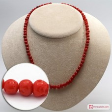 Mediterranean Red Coral Necklace round mush 5½-7mm in Gold 18K