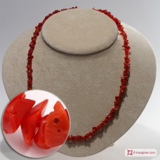 Mediterranean Red Coral Necklace chips ±20g in Silver