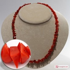 Mediterranean Red Coral Necklace chips ±33g in Silver