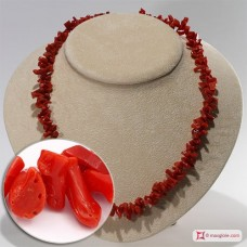 Mediterranean Red Coral Necklace chips ±46g in Silver