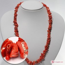 Mediterranean Red Coral Necklace chips II ±60g in Silver