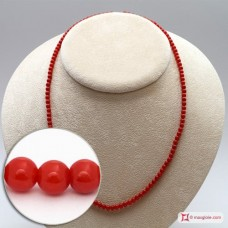 Mediterranean Red Coral Necklace round 4-4¾mm in Gold 18K [various diameters]