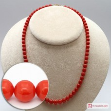 Extra Red Coral Necklace Light Color round 6½-7mm in Gold 18K