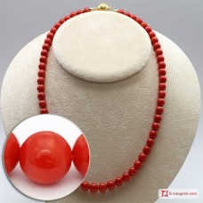 Extra Red Coral Necklace Dark Color round 7½-8mm in Gold 18K