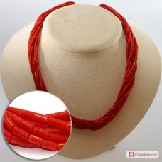 Extra Red Coral Necklace drum shape 2½mm 10 strands in Gold 18K