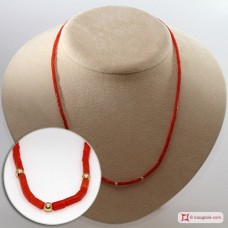 Extra Red Coral Necklace drum shape 2½mm 3mm gold dots in Gold 18K