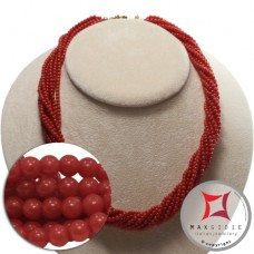 Extra Red Coral Necklace Torchon 10 strands 3mm round in Gold 18K