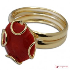 Red Coral Ring 1 cabochon 925 Gold Plated Silver [multiple choice]