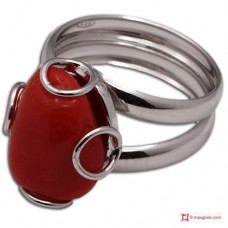 Red Coral Ring 1 cabochon 925 Rhodium Plated Silver [multiple choice]