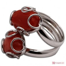 Red Coral Ring 2 cabochon 925 Rhodium Plated Silver [multiple choice]