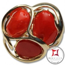 Etruscan Mediterranean Red Coral Ring in 925 Gold Plated Silver id0041