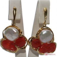 Etruscan Red Coral Pearl Earrings 60x50mm 925 Gold Plated Silver id10