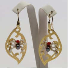 Leaf with Spider Earrings [Pearls, Coral] in Gold Plated Silver