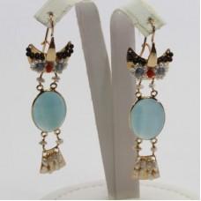 Orecchini Gufo con Calcedonio Sea Blue [Perle, Corallo, Granato] in Argento placcato Oro