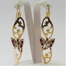Orecchini 2 Foglie con Farfalla [Perle, Agata] in Argento placcato Oro