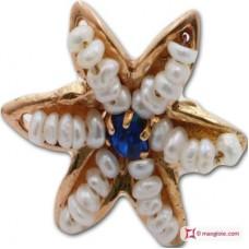 Orecchini Stella [Perle, Zaffiro] in Argento placcato Oro