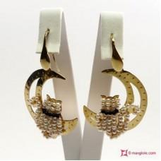 Orecchini Luna con Gatto [Perle, Onice] in Argento placcato Oro