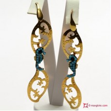 Two Leaves with Hippocampus Earrings [Turquoise, Agate] Gold Plated Silver