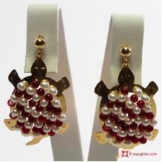 Orecchini Tartaruga [Agata, Perle] in Argento placcato Oro