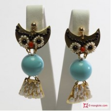Owlet Earrings [Turquoise, Pearl, Coral, Onyx] in Gold Plated Silver