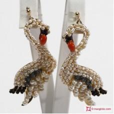 Orecchini cigno [Perle, Corallo, Onice, Cristallo] in Argento placcato Oro