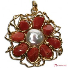 Etruscan Red Coral Pearl Pendant 60x50mm 925 Gold Plated Silver id10