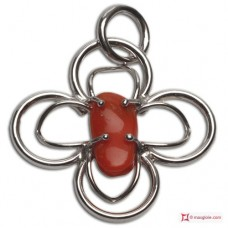 Red Coral Pendant 46x39mm 925 Rhodium Plated Silver id13