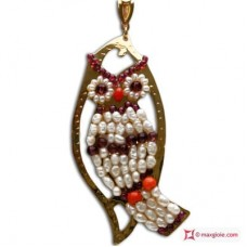 Leaf with Owl Pendant [Pearls, Coral, Garnet] in Gold Plated Silver