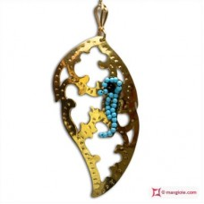 Leaf with Hippocampus Pendant [Turquoise, Agate] in Gold Plated Silver