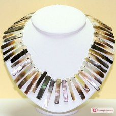 Mother of pearl necklace and Hematite rectangular segments