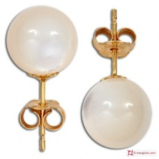 Extra Mother of Pearl Earrings 8mm in Gold 18K
