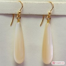 Extra Mother of Pearl Earrings 8x30mm in Gold 18K